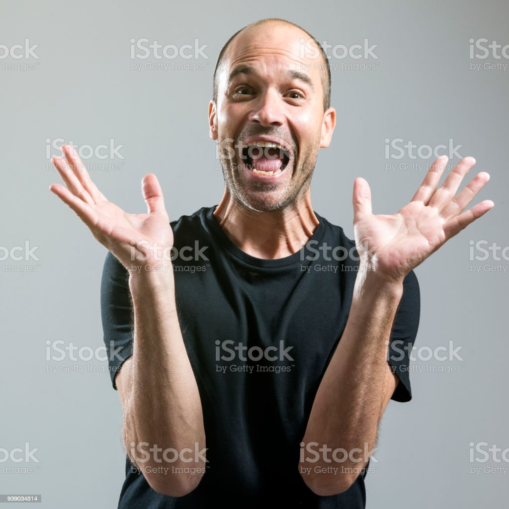 Screaming out of excitement stock photo