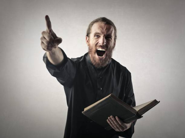 screaming priest - preacher stock photos and pictures