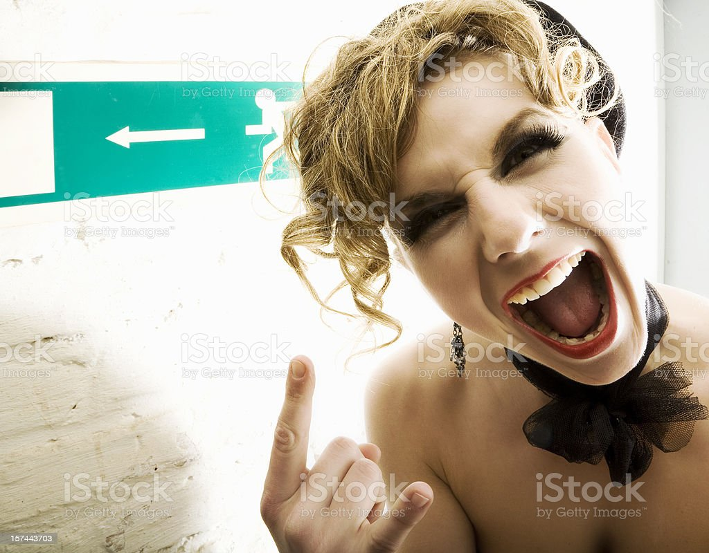 Screaming  Rock 'n Roll woman royalty-free stock photo