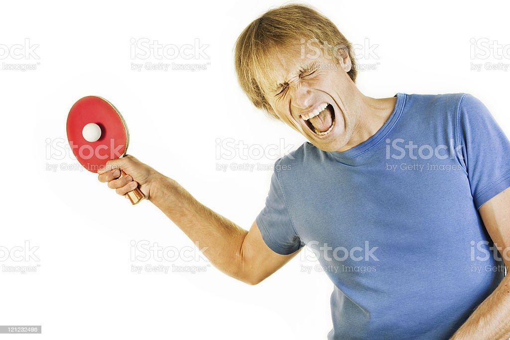 Screaming table tennis player royalty-free stock photo