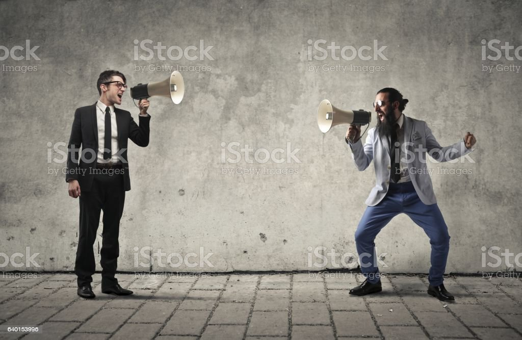 Screaming with each other stock photo