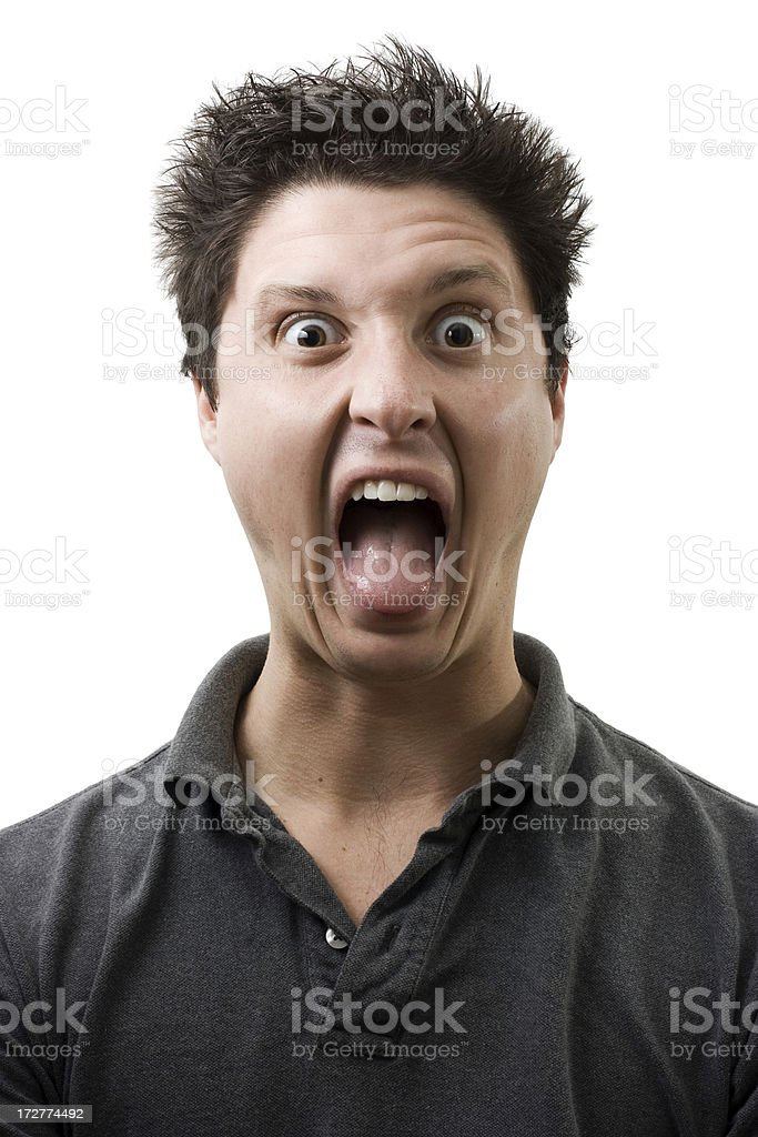 Screaming with tongue stock photo