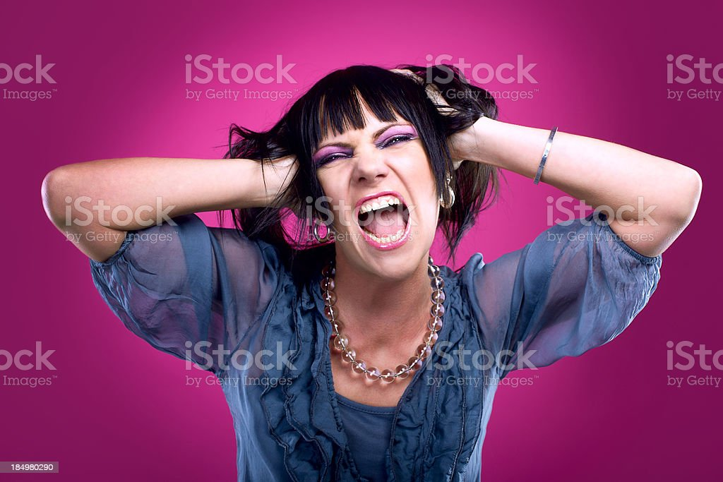 screaming woman (portrait) stock photo