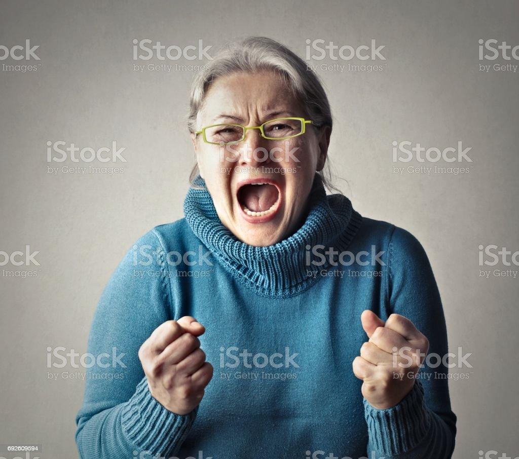 Screaming woman stock photo