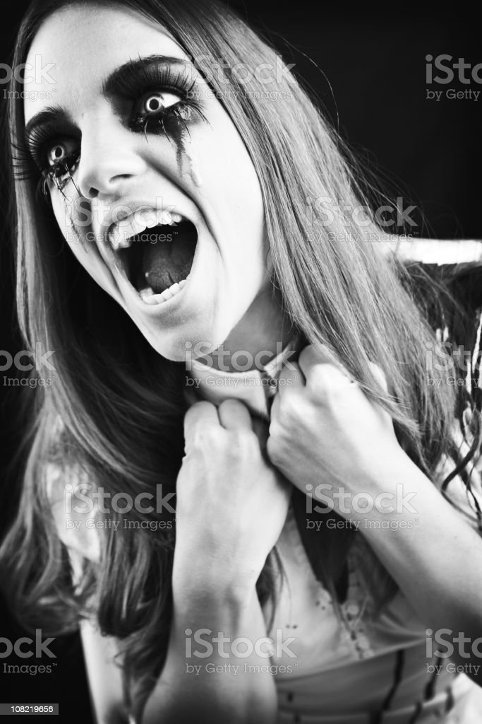 Screaming Young Woman Crying with Mascara Running royalty-free stock photo