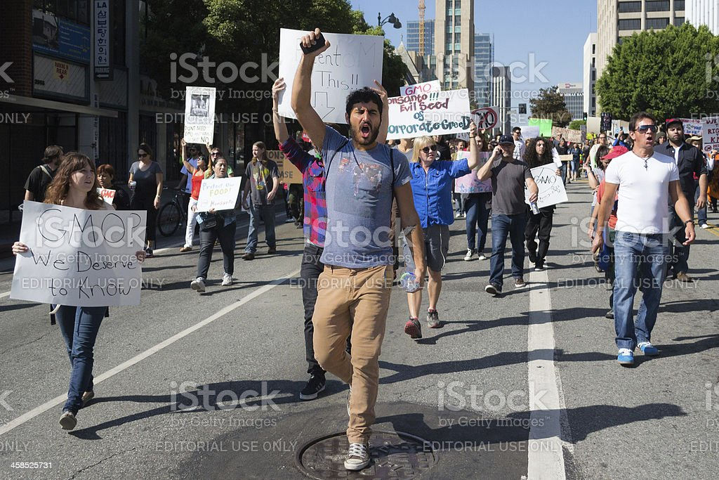 Screams of protest stock photo