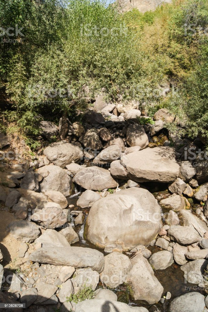 Scree of large stones. stock photo