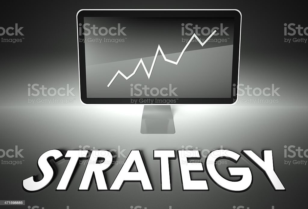 Screen and graph with Strategy, Success royalty-free stock photo