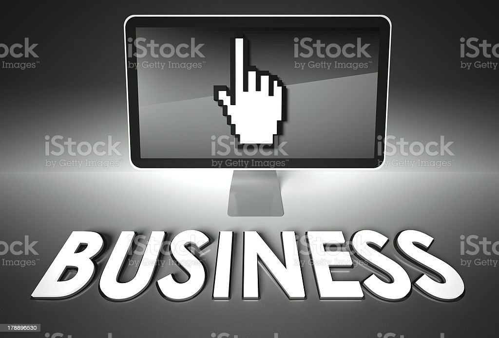 Screen and hand icon with Business, E-commerce royalty-free stock photo