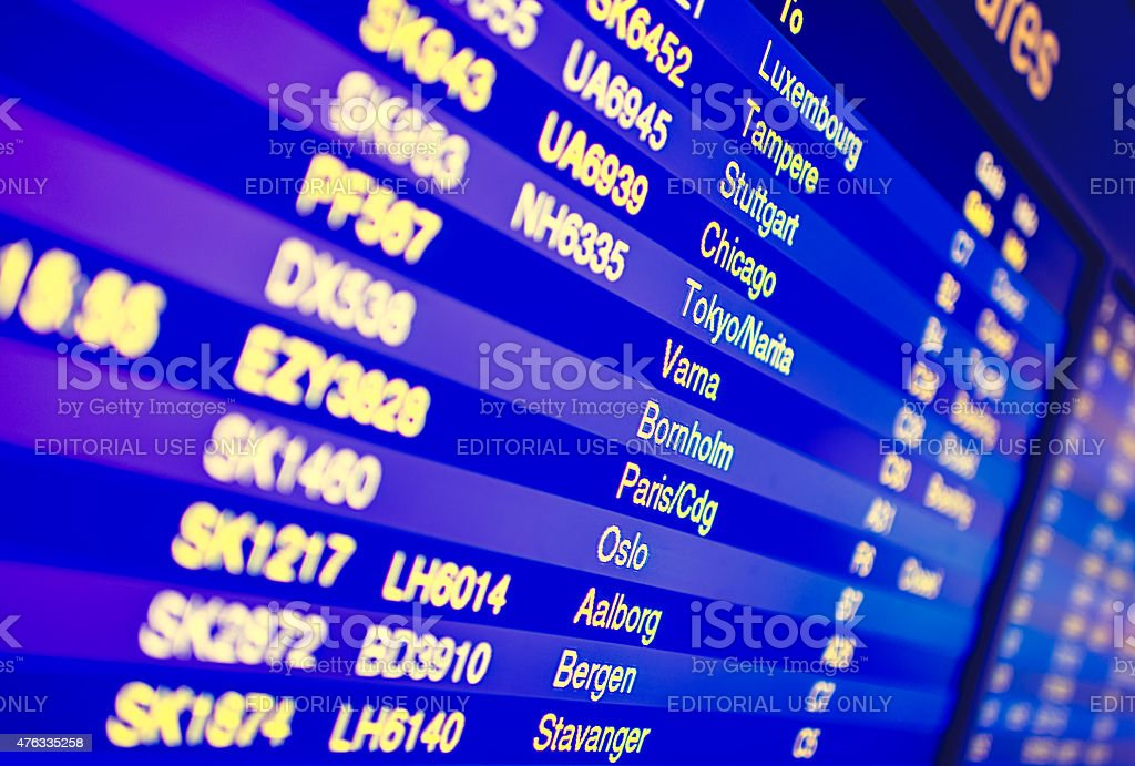 Screen board with indications in airport stock photo