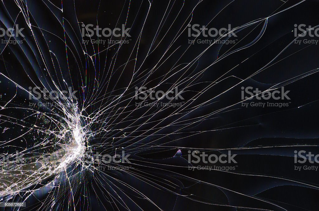 Screen cracked  lcd TV stock photo