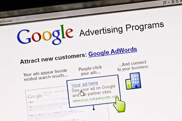 """Screen displays Google advertising program """"Ostersund, Sweden - August 14, 2011: Close up of Google\'s Advertising Program\'s website on a computer screen."""" google stock pictures, royalty-free photos & images"""