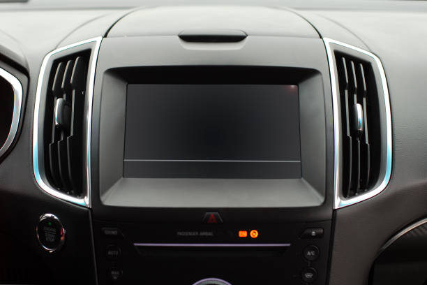 Screen multimedia system Screen multimedia system on dashboard in a modern car dashboard vehicle part stock pictures, royalty-free photos & images