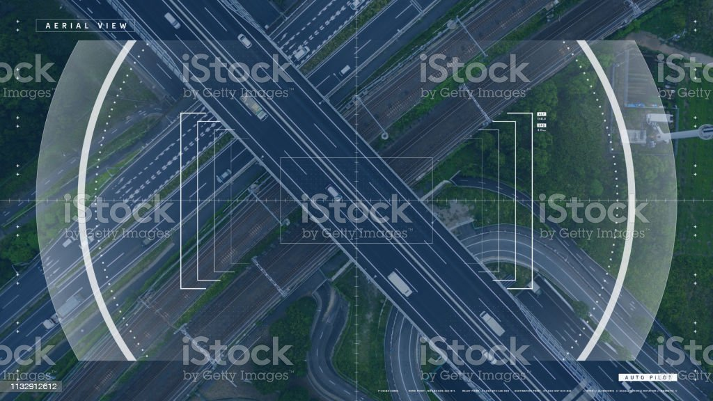 Screen of a drone controller. Head up display (HUD) of a vehicle cockpit. Graphical user interface (GUI). royalty-free stock photo