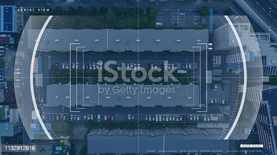 istock Screen of a drone controller. Head up display (HUD) of a vehicle cockpit. Graphical user interface (GUI). 1132912616
