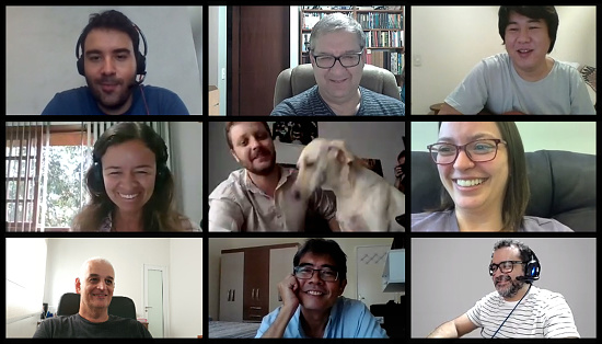 Screen of a video conference with nine people. Image for paste to your screen.