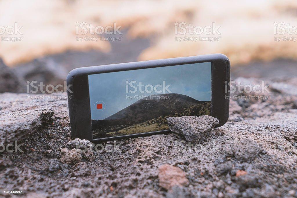 Screen of smartphone device shots video stock photo