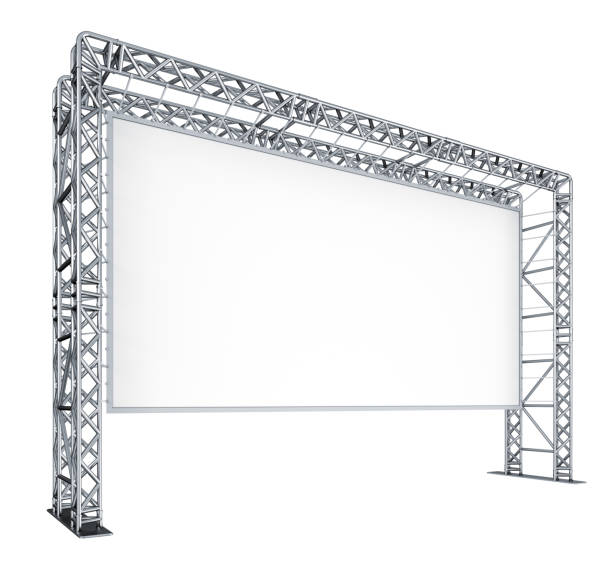 Screen of the cinema, scenes, metal trusses. stock photo