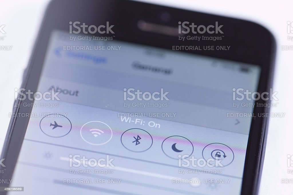 Screen on Apple iPhone 5 and new control center royalty-free stock photo