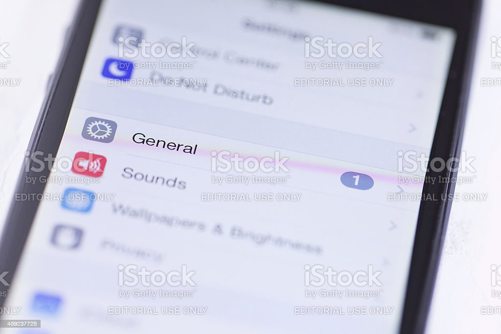 Screen on Apple iPhone 5 royalty-free stock photo
