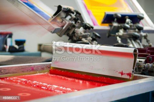 Screen Printing/Silk Screening squeegee in red ink