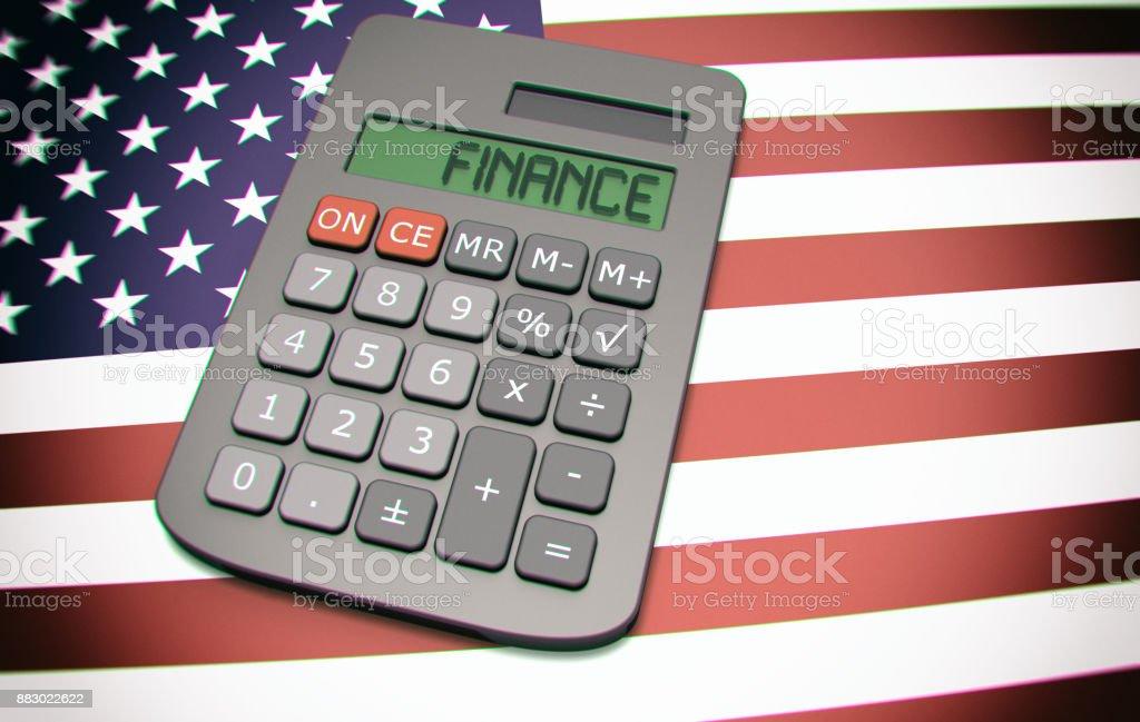 LCD screen says 'FINANCE' on calculator stock photo