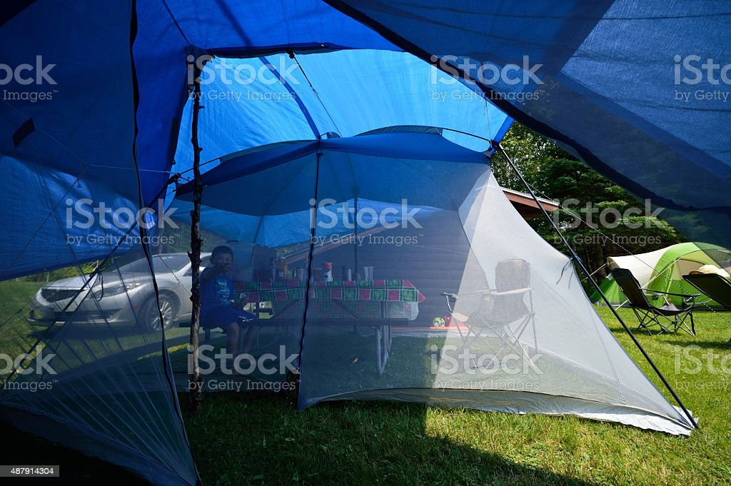 Screen Tent Tarps Camping stock photo