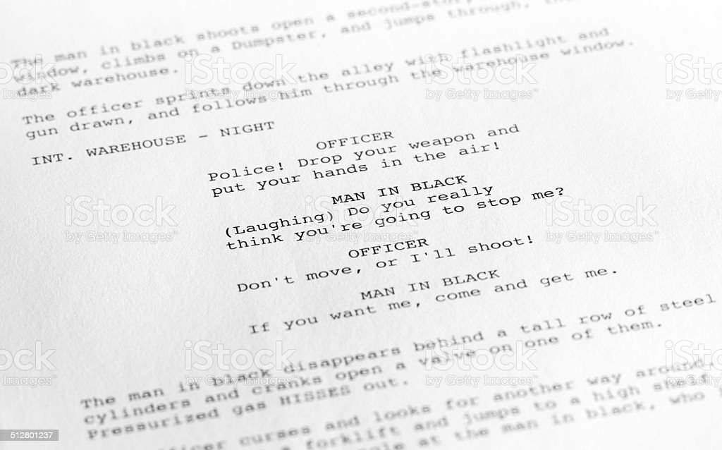 Screenplay close-up 1 (generic film text written by photographer) stock photo