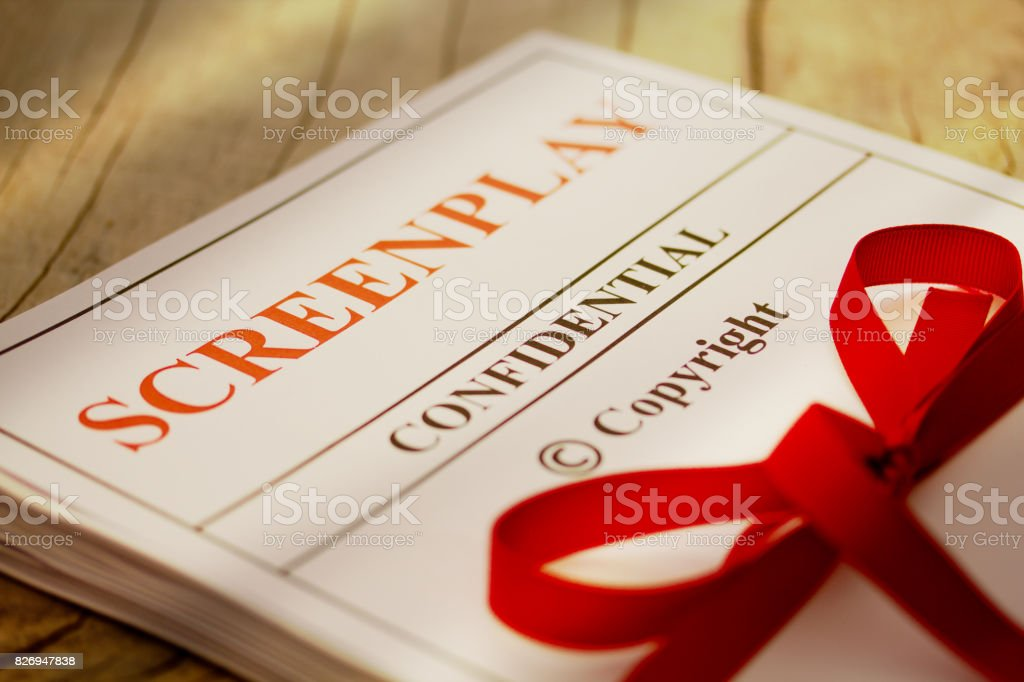 Screenplay Manuscript by Author ready for Proofreading Closeup stock photo