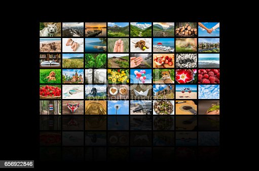 1032516726 istock photo Screens forming a big multimedia broadcast video wall 656922846