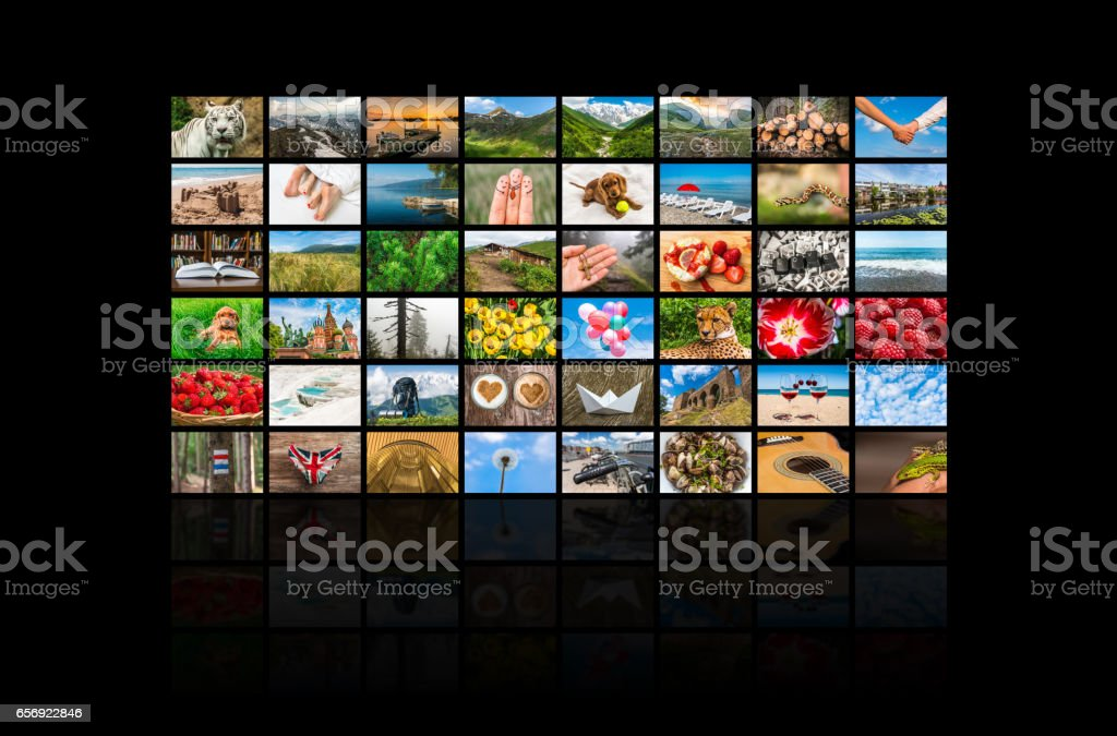 Screens forming a big multimedia broadcast video wall stock photo