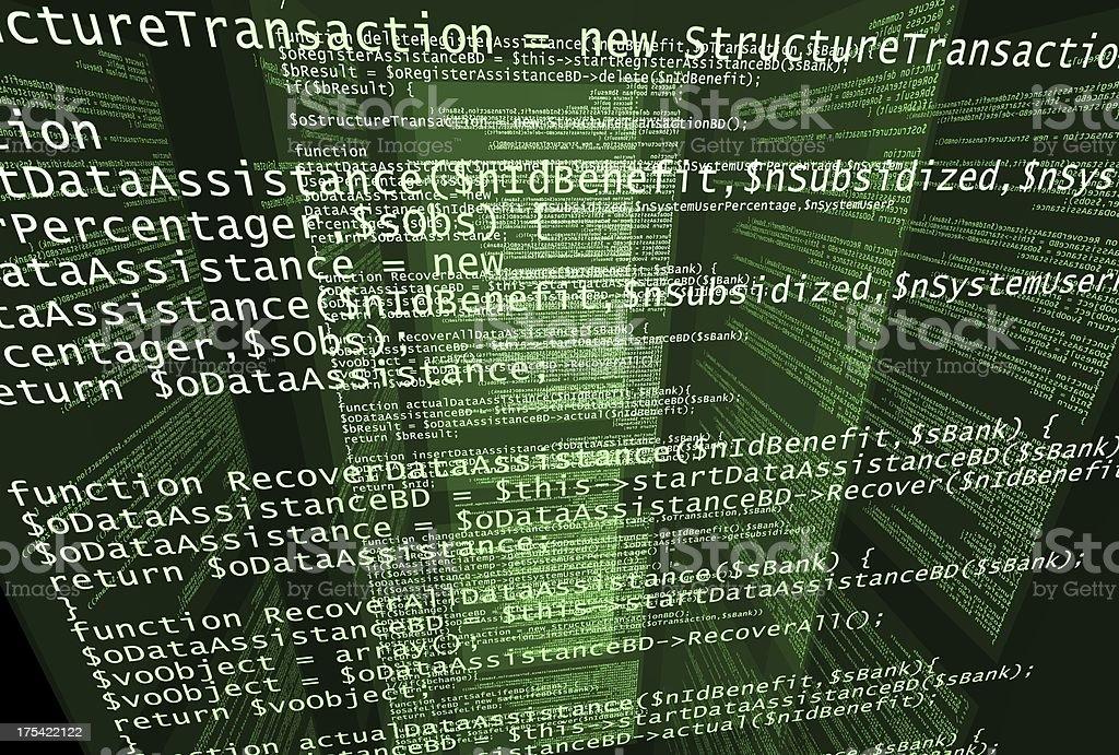 Screens with program code stock photo