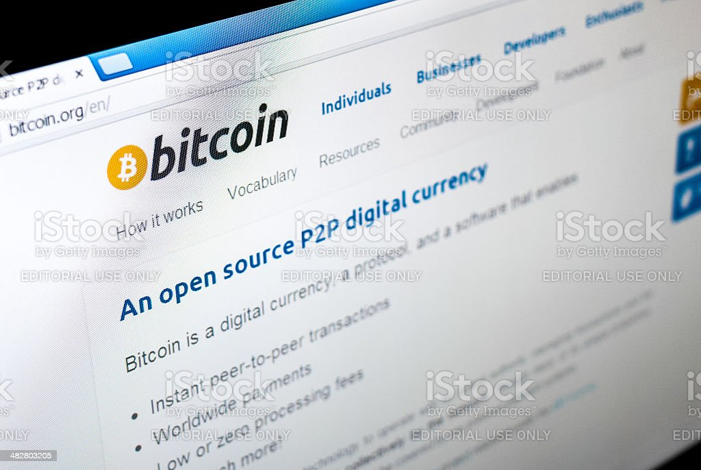 Screenshot Bitcoin home page website royalty-free stock photo