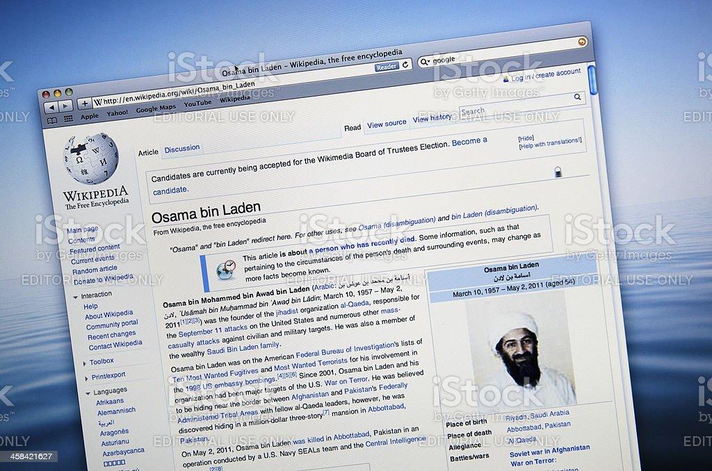 Screenshot of a Wikipedia page on Osama Bin Laden royalty-free stock photo