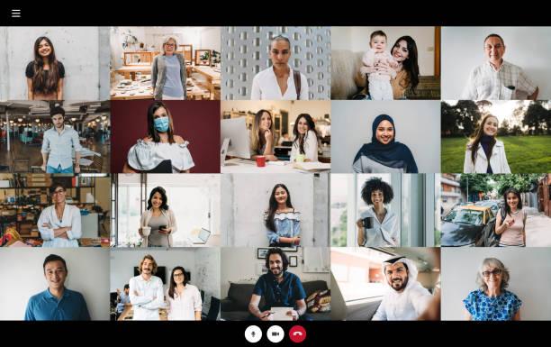 skärmdump av ett arbetsvideosamtal - många människor av olika etniciteter som ansluter samman - 23 personer - video call bildbanksfoton och bilder