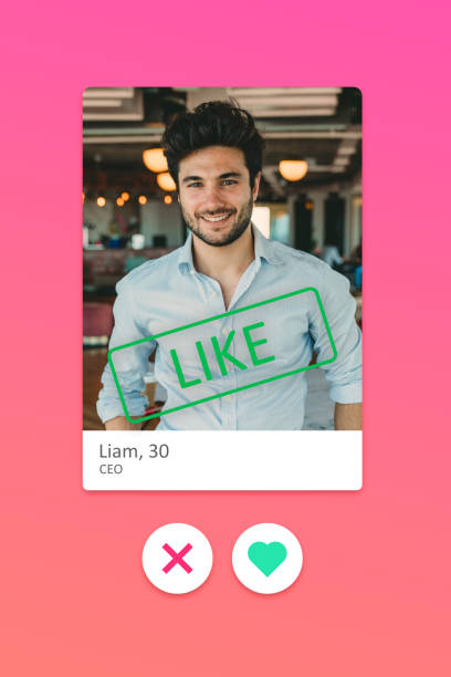Screenshot of a young adult man on a dating online app stock photo