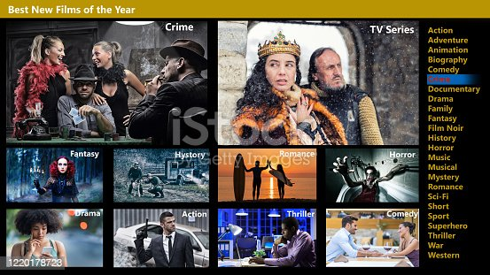 Multimedia video concept  TV set. Web streaming media TV. Screens forming  multimedia broadcast video wall
