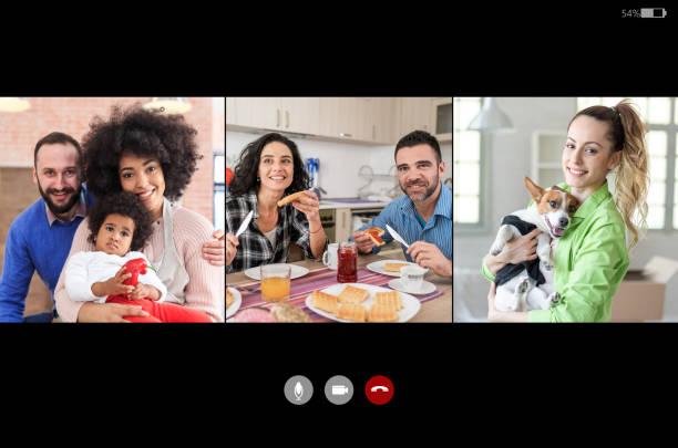 Screenshot des Video-Chats vom Aufenthalt bei Freunden zu Hause, während der Isolation in der Zeit von COVID-19 – Foto