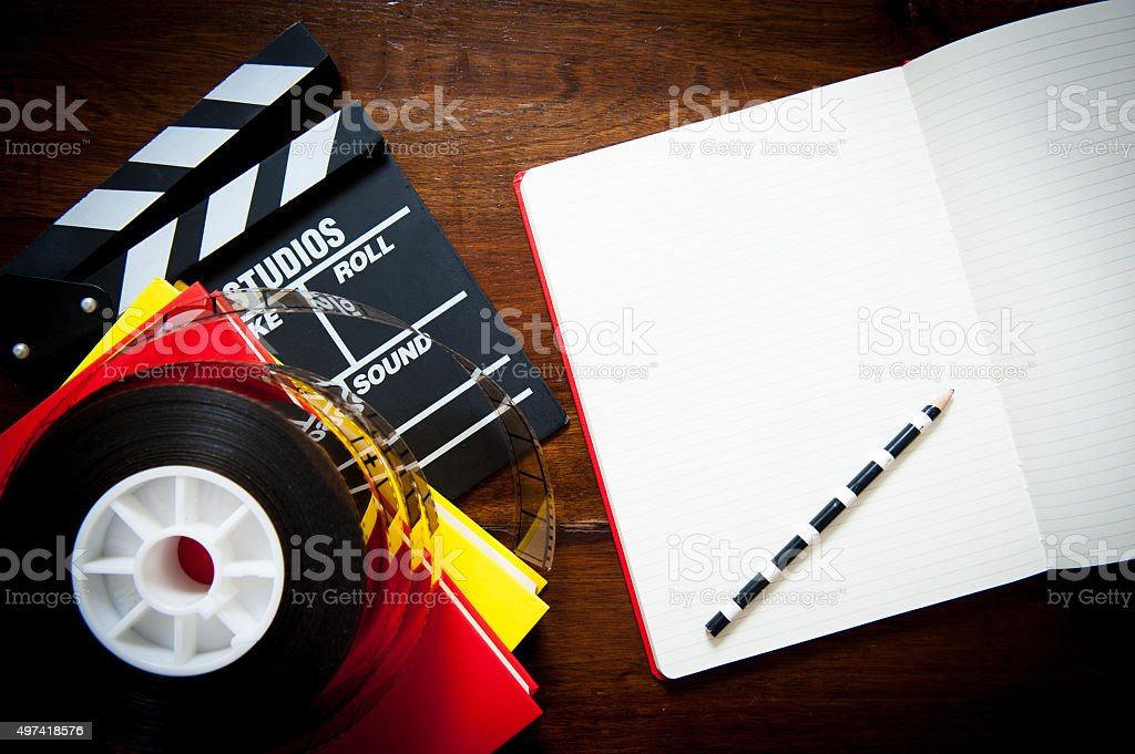 Screenwriter desktop old fashioned stock photo