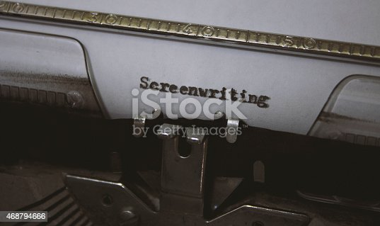 Screenwriting title typed out with a vintage typewriter.