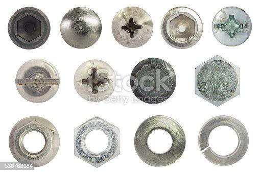 istock screw, bolt, stud, nut, washer, spring washer isolate on white 530763384