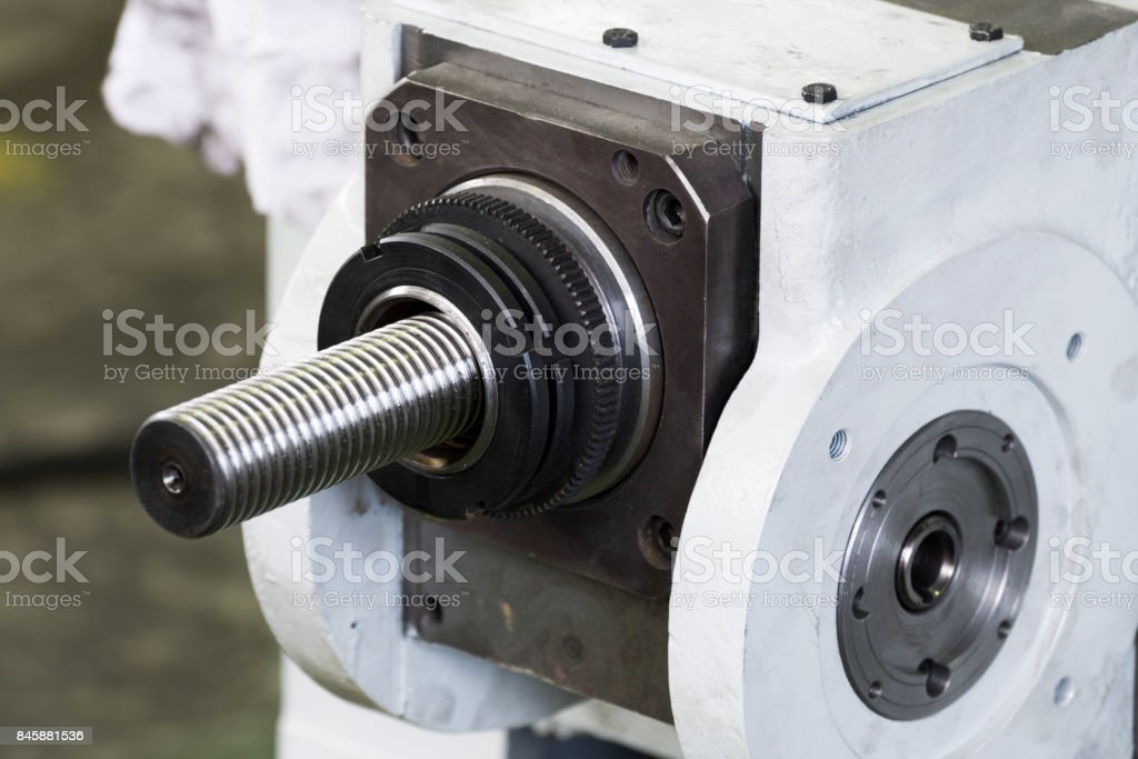 Screw drive of industrial machine stock photo