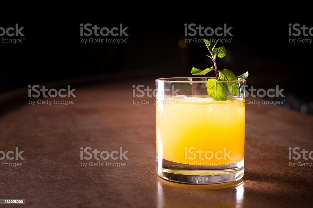 Screw driver cocktail with fresh mint stock photo