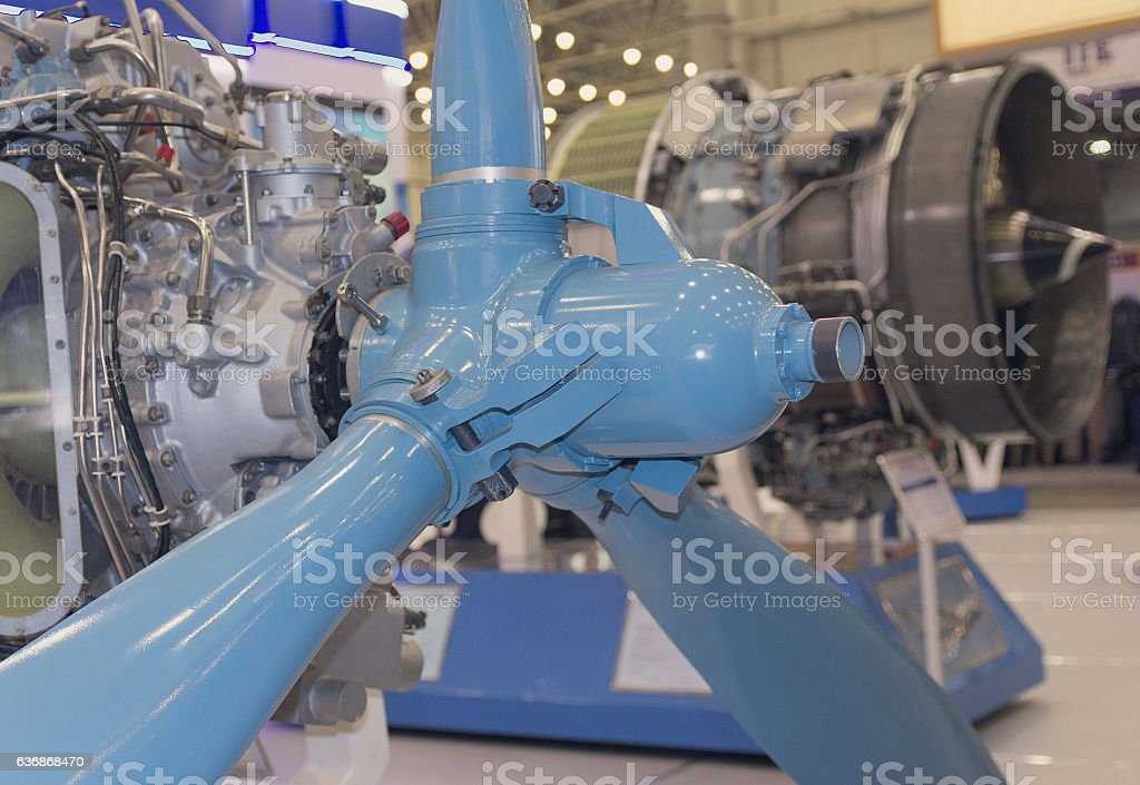 Screw parts and aircraft engine close-up. Industry stock photo