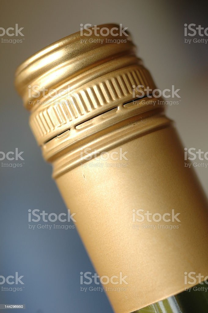 Screwcap on wine bottle stock photo