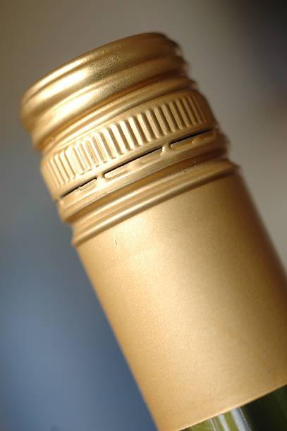 Screwcap on wine bottle stock photo