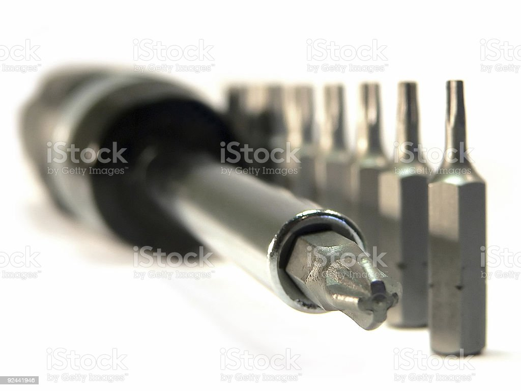 Screwdriver and bits stock photo