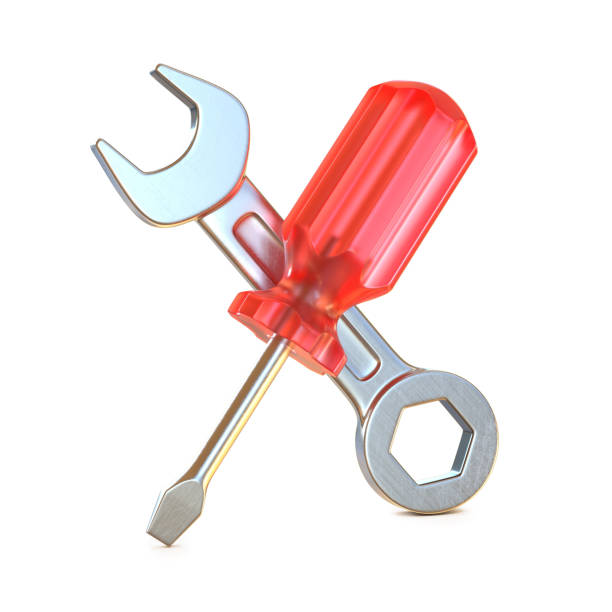 Screwdriver and wrench crossed, tools 3d icon stock photo