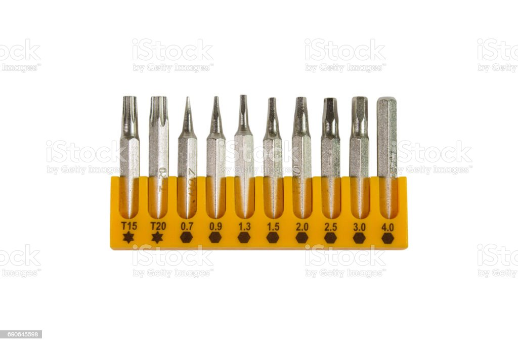 Screwdriver bits isolated stock photo
