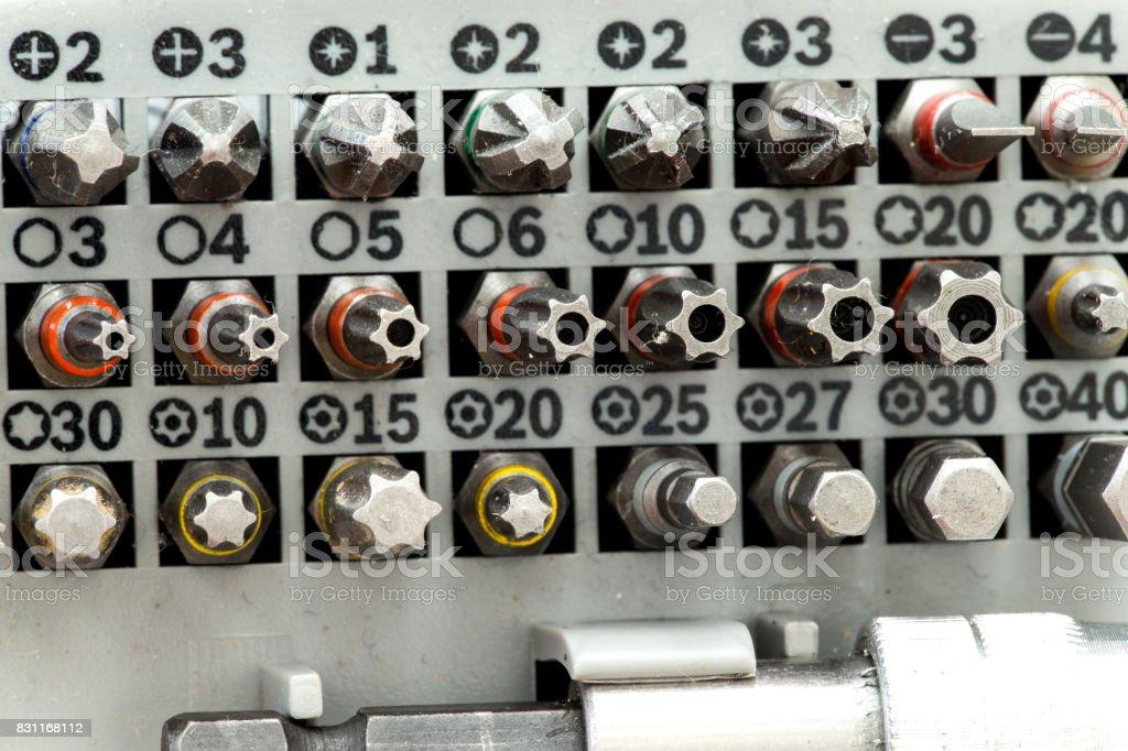 Screwdriver bits stock photo